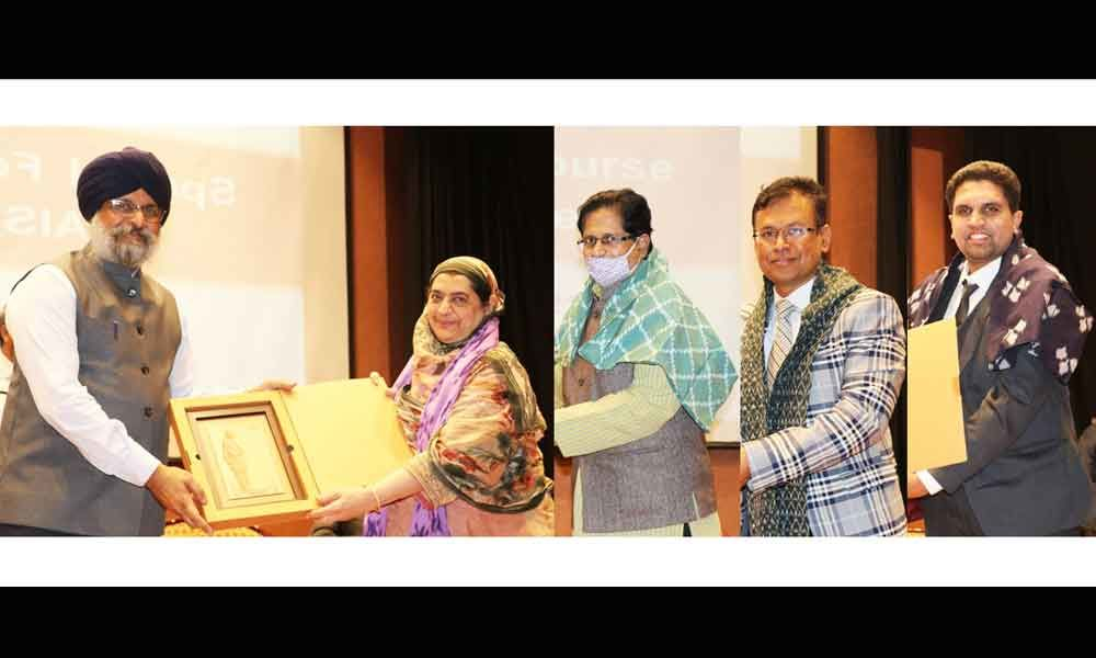 Harpreet Singh, DG of Dr MCR HRDI, presenting mementos to Prof Mubeen Rafat, Prof J Manohar Rao, CA Ganesh Balakrishnan, CA Shravan Kumar Namani, CA Md Irshad Ahmed and Prof Amirullah Khan